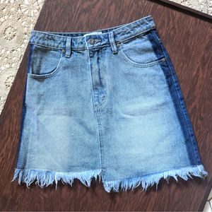 MP D Dual Two Toned Distressed Denim Skirt